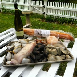 Local #capecod- @paindavignoncafe bread, Nantucket wine, monk fish, clams, mussels, steamers, oysters, shrimp & scallops for #mothersday dinner. #foodporn #local #seafood