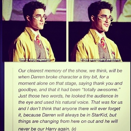 I am actually drowning in tears #darrencriss #averypottersenioryear #avpsy #harrypotter #starkid #totallyawesome