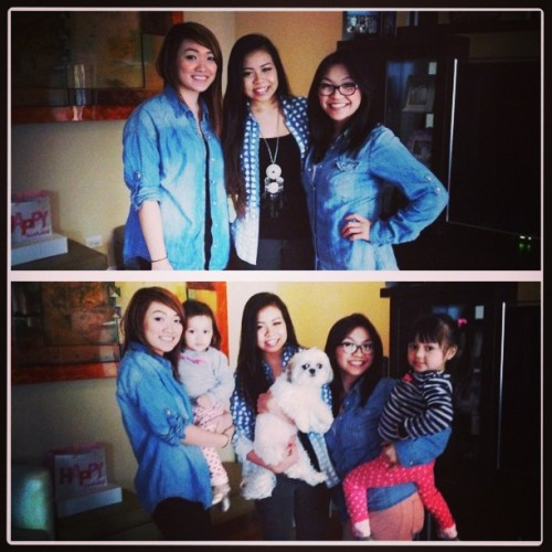#latepost from yesterday! I swear we didn't plan on wearing denim shirts. ;P @joeanneky @cjoysibal #girlies #ootd #denimshirts #KylieAlexis #ClaireBear #LeannahArianey