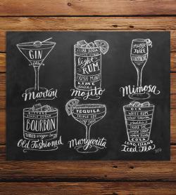 art summer chalk drinks sign wedding chalkboard whiskey cocktails Wood bar martini margarita bourbon guide mojito mimosa oldfashioned scoutmob longislandicedtea lilyandval shoppebyscoutmob makermade maker made lily and val