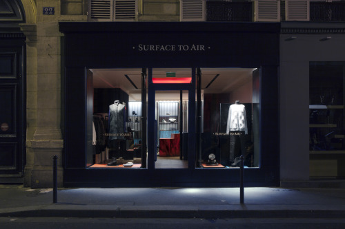 2013 | Surface to Air One of our favourite independent Parisian fashion houses has opened the doors to its second store in Paris. This time in the Left Bank by the corner of rue St Pères. Surface to Air is a collective of creatives whose motto is to work solely on projects they're passionate about. Created in the 00s as a creative agency, the team expanded to take on film, fashion, photography, design and communication projects. They launched their label for men in 2004 and for women in 2007. Design is a mix of Parisian chic flair and US Streetwear.  Aside from the new store, Surface to Air retails in over 200 stores worldwide. Along with another store in Paris, they're also situated in New York and Sao Paulo.
