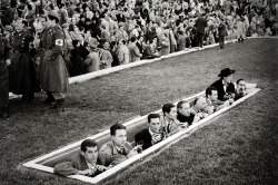 futbolintellect:  The Spanish Press during a 1954 game in Madrid's Estadio Metropolitano.