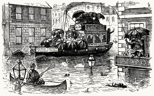 The metropolis in August, 1888.  from Punch vol. 94-95, London, 1888.  (Source: archive.org)