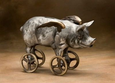 """Flying Pig"" Coin Bank by Nelles"