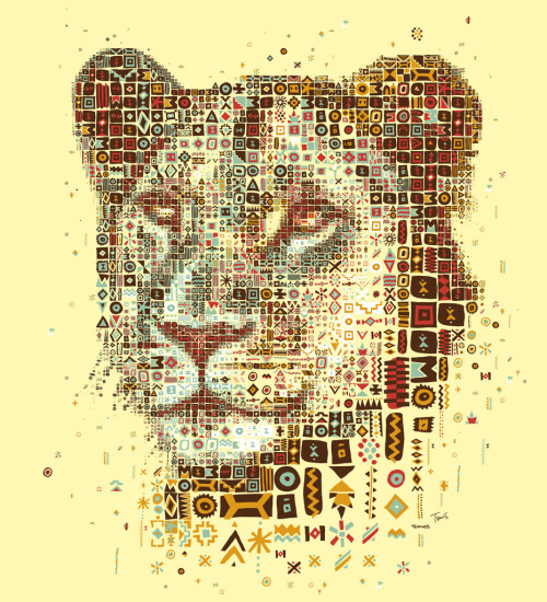 "Kozi's Lioness (by tsevis) Kozi's is a grill house in Athens, Greece. I believe they have the best burgers in the world.  The restaurant belongs to Kozi Tzanos and his family who are Greeks from South Africa. They brought with them the culture of a traditional Sunday Lunch Braai, combined it with the Mediterranean spirit and landed up with a great place. Dimitra Tzanos has designed and developed all the African inspired doodles, the color set and the visual identity of the shop that I have used for this work. Best viewed large.  Attention: Big file. (10240 x 11264 = 34.1"" x 37.5"" @ 300 ppi) Alternately you can zoom in to the high res (115 megapixels) file with Microsoft ZoomIt. Made with custom developed scripts, hacks and lots of love, using my Mac, Synthetik Studio Artist, the Adobe Creative Suite and good music. Partially based on a photo downloaded from Shutterstock. See all my African inspired art. Some details: Some photos from Kozi's restaurant:"