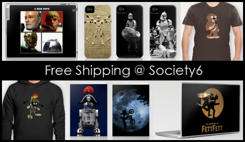 Society6 has decided to have another week of FREE SHIPPING TO ANYWHERE IN THE WORLD! If you were waiting for my 52 Weeks of Star Wars series to be complete to pick up a new iPhone case, iPad or Laptop skin or even one of my tees, now is the time to take advantage of this great offer. This deal only lasts until Sunday, February 10 @ midnight. Unfortunately this offer excludes Framed Art Prints, Stretched Canvases and Throw Pillows with inserts. Thank you for your continued support.