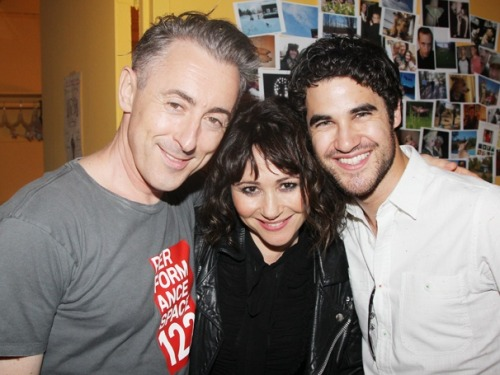 broadwaycom:  Come, you spirits! Alan Cumming welcomes Frances Ruffelle & GLEE's Darren Criss backstage at MACBETH