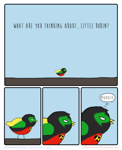 tealgeezus:  fyeahdamianwayne:  Little Robin  this made me laugh stupidly.