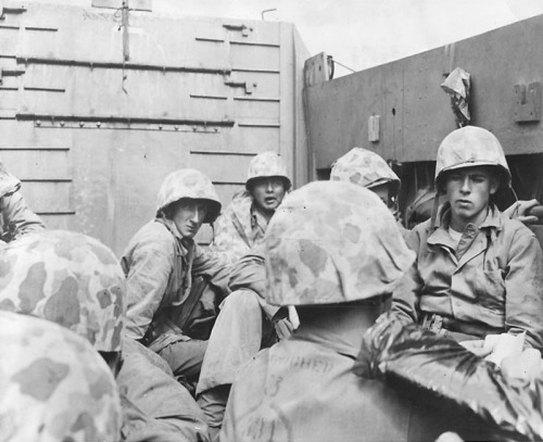 Marines from the first wave on their way to Iwo, Feb 1945