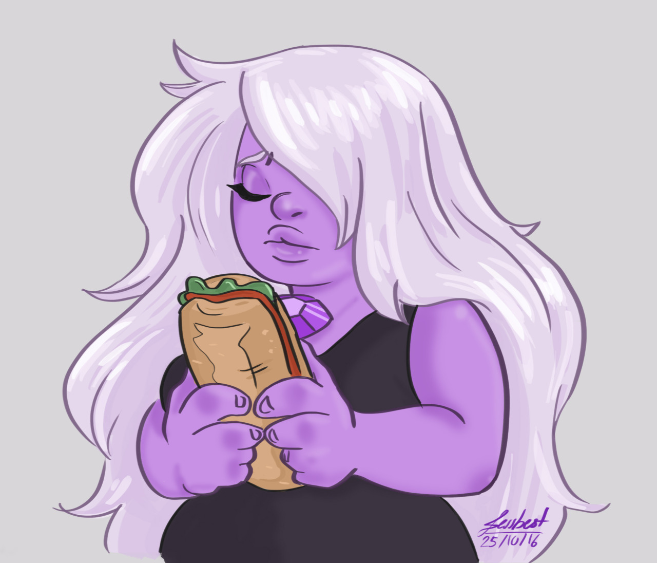 """Why does work have to exist…anyway here's a quick Amethyst holding """"mi torta"""" It was my fist time drawing her and I'm happy about it"""