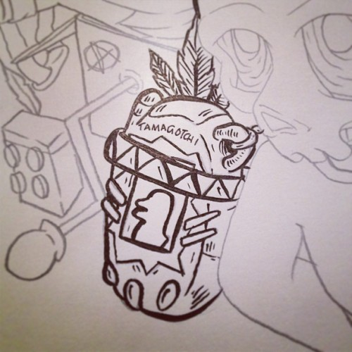 Inking next C.Reaper drawing ft. Little Wild Tamagotchi. #illustration #art #cheeks #workinprogress