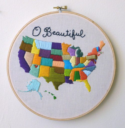 "charislogia:  leannefrances ; lovelyetsy:  ""USA"" Embroidery by ilgattoselvatico"