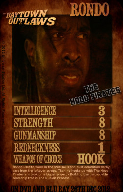Ending The Baytown Outlaws's Hook Pirates' lineup is Rondo. With the knowledge he gained working in the steel mills, Rondo built the ultimate heavy metal killing machine. He may not be the brightest swashbuckling pirate of the gang, but this dread-locked death-dealer will pummel you into the ground with his handy steel hook.