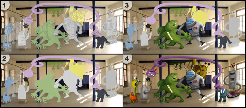 My latest photoshop, Robot and Monster Fight Club, in 4 easy steps!