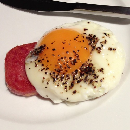 #breakfast It's winter. Fried egg and spam