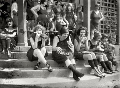 """In 1921, early suffragettes often donned a bathing suit and ate pizza in large groups to annoy men…it was a custom at the time."""