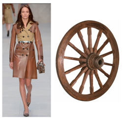 Burberry Prorsum reinvents the wagon wheel again this season with yet another take on the beige trench coat. #LFW #FALL2013