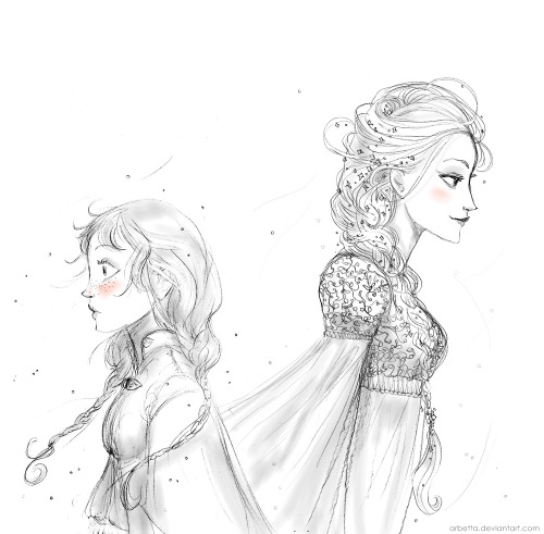 twogranniesandanaxe:  Princesses Anna and Elsa from Frozen again ;) Sorry for the long absence… my exams are killing me (*ugly sobs*)