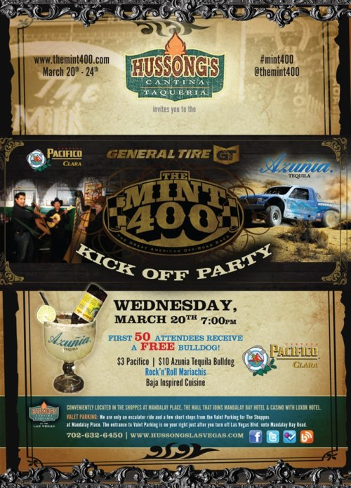 Kick off the legendary @theMint400 race at Hussong's, with current and past racers, organizers and supporters of this amazing Las Vegas offroad event. #mint400 http://ow.ly/1T6tiQ