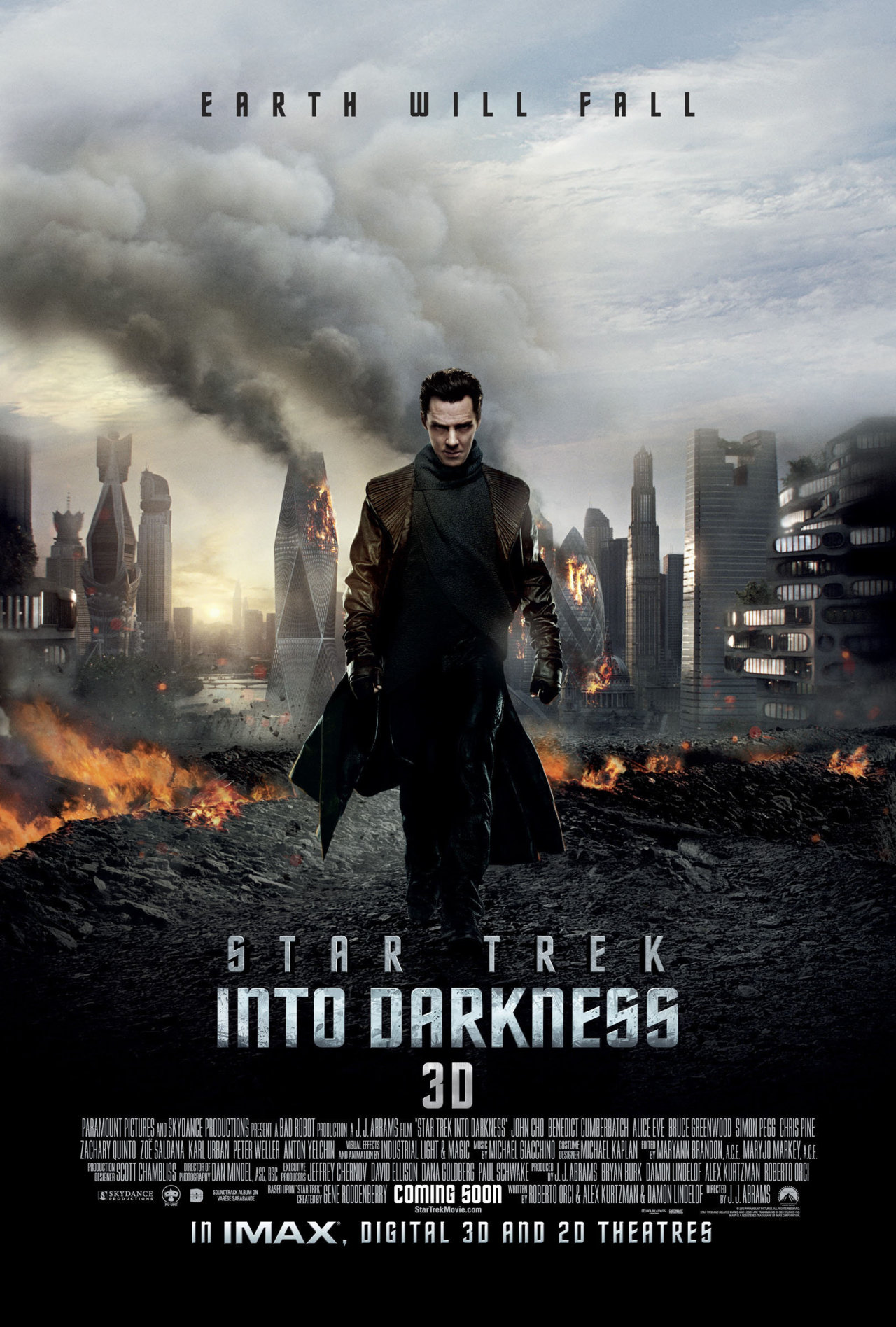 Star Trek Into Darkness (2013)      After the crew of the Enterprise find an unstoppable force of terror from within their own organization, Captain Kirk leads a manhunt to a war-zone world to capture a one man weapon of mass destruction.      Just watched this and it is simply AWESOME!!!  I wasn't a Trekkie before, but I think I may be one now ;-) Benedict Cumberbatch is simply amazing, and let's be honest, he does justice to every role - such a talented actor. When they introduce him in the film,  the camera zoomed  on him and he looked very DASHING. A bit of weight gain really fills his face and makes him look incredibly sexy but…I digress - Cumberbatch is pretty evil in this film but he did an excellent job as  did everyone else. go watch it. It's highly entertaining! To see the YouTube trailer, just click on the poster above.