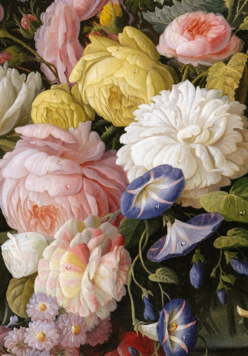Detail, Still Life with Flowers and Fruit (1850 - 55) Severin Roesen.