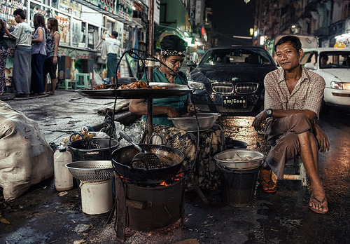 worldwideexplorers:  Juxtapose: the streets of YangonJuxtapose: the streets of Yangon, a photo by Christopher.Michel on Flickr.View Post