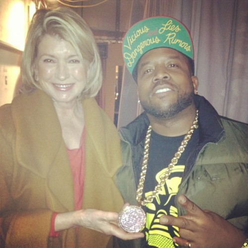 bigboi:  Bumped into Martha Stewart Back Stage Macaroni Martha  Is there just a blog of rappers with white ladies? I'd put this one with Jay-Z and Ellen Grossman on the subway and this photo of  Lil' Jon playing ping pong with Susan Sarandon.