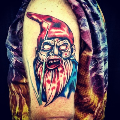 The first stage of a zombie gnome half sleeve.  Artistry by the brilliant Samantha at Mastermind Ink in Chicago.