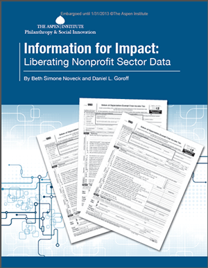 Information for Impact: Liberating Nonprofit Sector Data Just released, a new report by NYU Wagner Visiting Professor Beth Noveckand co-author Daniel GoroffentitledInformation for Impact: Liberating Nonprofit Sector Dataaddresses the challenges to obtaining better, more usable data about the nonprofit sector to matchthe sector's growing importance.