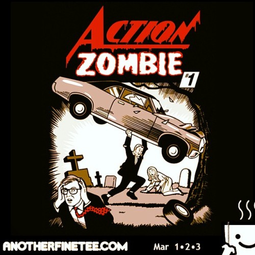 #teeoftheday! #ActionComics #Zombie!! #AnotherFineTee $11. #comics #undead #mashup #superman #twd #comicbooks #walkingdead #DC #Spoof #graveyard