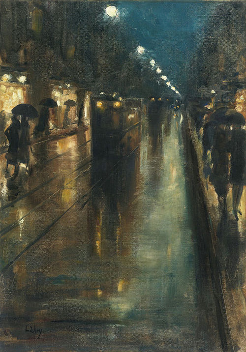 madison-bryantt:  Night street scene in Berlin, Leipziger Strasse, Lesser Ury