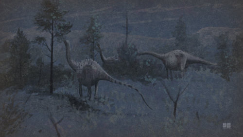 The fifth in my series of quick sauropod herd paintings. This is Haplocanthosaurus delfsi by the light of the silvery moon, the moon, by the light of the silvery moon.