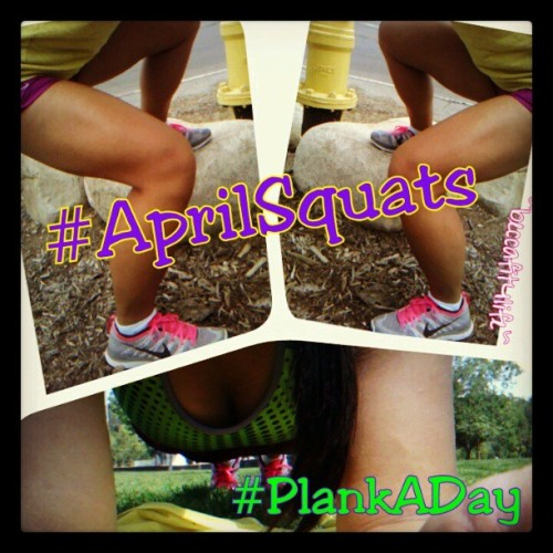 90 #AprilSquats & 4 sets of 45sec #PlankADay D.O.N.E! Change up your squats by doing them sumo, elevated single-leg (as pictured), sideways, or one-legged. Make your #plank harder by having #sideplank, alternate leg-raise, #birddog plank, etc. Time to #UndoOrdinary w/ your #workout!