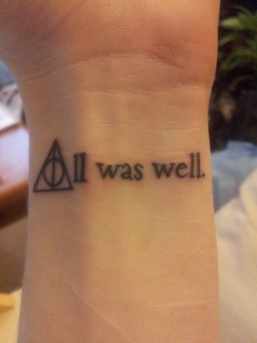 tattoolit:  This is the final line, in the final book of the Harry Potter series, with the Deathly Hallows symbol forming the A. I tracked down the font used in the first editions and copied that so it would feel more genuine. This symbolises both endings and beginnings for me, and serves as a reminder of the magic of escapist literature.