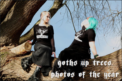 Today is the 1 year anniversary of Goths Up Trees!  Frankly, I'm as surprised as you are that it has lasted this long.  I'd be happy about it but smiling doesn't go with my outfit. To commemorate this occasion, I have compiled a list of my most favourite of the 400 photos I've posted for your viewing pleasure. The photo that started it all - the photo of my brother Spreckenstein taken in 2007. The musician related photos, in particular, Robert Smith and Rammstein and all the bands. The goths with pizza and Jager The goth Police MothMouth and Wednesday Mourning any of The Crow kids All of the 5 rated photos for obvious reasons. To be honest, I like all of them.  Have a look at the archive to see all the photos month by month. Thanks to everyone for their uber submissions over the year. Keep 'em coming!  Thanks also for the multitude of non-uber submissions (I really need to start a blog called 'hipsters up trees'). Thanks also to my loyal readers. Grab some absinthe to celebrate, friends, and hail to the darkside!