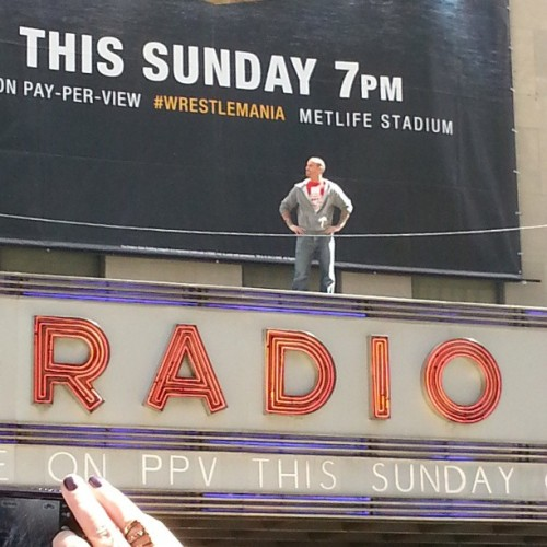 It's @CMPunk on the @RadioCity marquee. #NYC #wrestlemania #wrestling #wwe