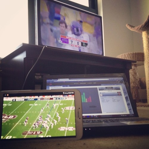 "I call this the ""College Football Triple-Threat."" #ncaafb"
