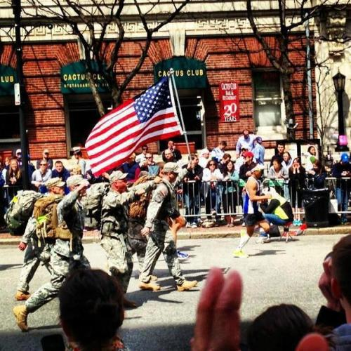 "weathered-the-wrackspurts:  militarysweetiesblog:  ""Yesterday, one of the first groups of marathon runners to cross the finish line were military personnel who ran the entire 26.2 miles in full fatigues, boots, and backpacks. Later, there were reports that a few of these same men were seen pulling the barricades back to assist the injured."" <3  I am so proud of our military for so many reasons. This is just the most recent, small reason."