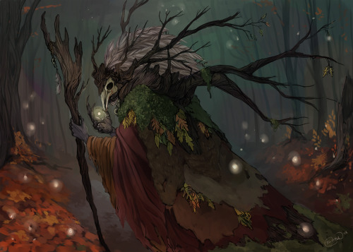 "Druid. Prompt was ""tree""   I had a lot of fun working on a creature again!  I don't do it enough these days!"