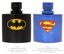 geekmythology:  Batman And Superman Scented Colognes | Geekologie