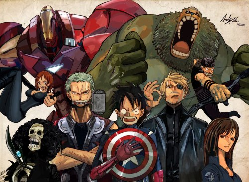 AndiMoo via The Daily Zombies  One Piece Avengers
