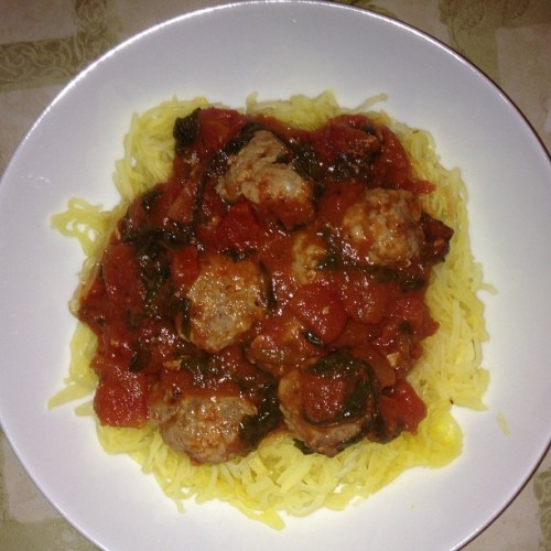 Time to faceplant. Spaghetti (squash) and meatballs! #eropaleochallenge #paleo #foreverhungry
