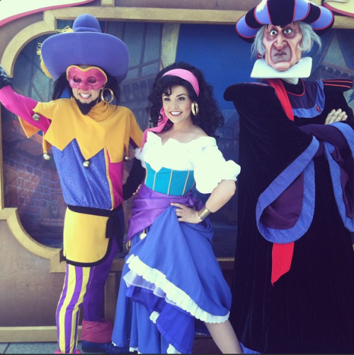 Clopin, Esmeralda, and Frollo