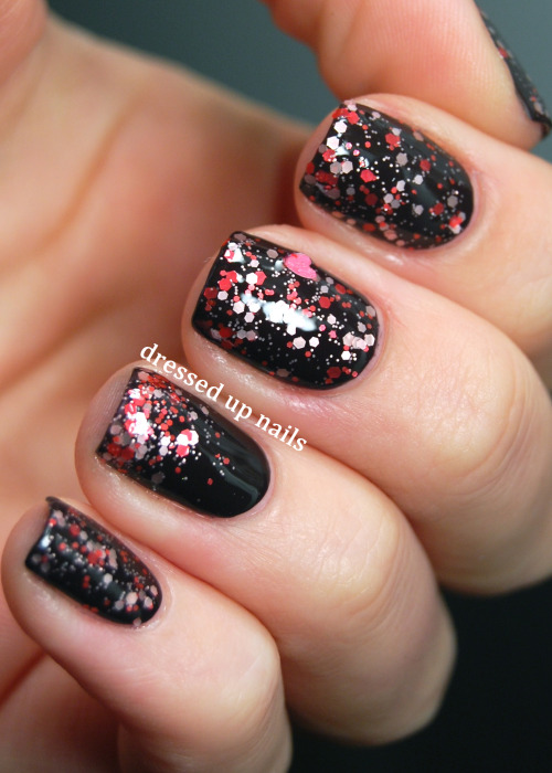 Cagedbird Nail Lacquer Lovesome over Floss Gloss Partybruise, love both of these polishes and SUPER LOVE this combo. The full post has more pictures and a review of Lovesome!