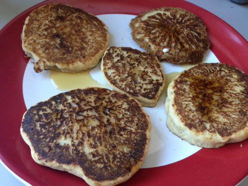 VEGAN CINNAMON PANCAKES (Serves 1) by Runningtothefinish Ingredients 1/2 cup brown rice flour (you can use any type of flour) 1 heaping tbsp. baking powder 1/2 tsp. cinnamon sprinkle of salt 1 tbsp pure maple syrup (you can also use agave, brown sugar, or stevia. Pretty much any kind of sweetener) 1 tbsp ground flaxseed (optional) 1/2 cup unsweetened vanilla almond milk (you can use any non-dairy milk, but I suggest one that has a vanilla flavor) Spoonful of extra virgin olive oil (also can use coconut oil for a healthier option) Directions Before you start making the batter, turn the stove on low-medium so the pan will be hot by the time you start making your pancakes. Mix all of the ingredients together in a bowl. You'll want the consistency a little thick (but not too thick to the point where you can't pour. Note: After mixing you might want to wait a minute for the mixture to settle). Spray your hot pan with cooking spray, and pour the mixture onto the pan. Wait approximately a minute to a minute and a half, or until bubbles rise to the top and flip over. Cook for about a minute on the other side and VOILA.  I was able to make 5 good sized pancakes. Top with whatever you want! Whether that be peanut butter, maple syrup, soy yogurt and granola, maple syrup, it's all up to you!  Enjoy ^_^