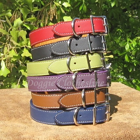 NEW leather dog collars at Doggie Clothesline. Soft and durable, these collars are made from fine Italian leather, plus they are lined with leather for added strength & durability. Finished with nickel hardware, expect only the best dog accessories at Doggie Clothesline.  Made in the USA too!