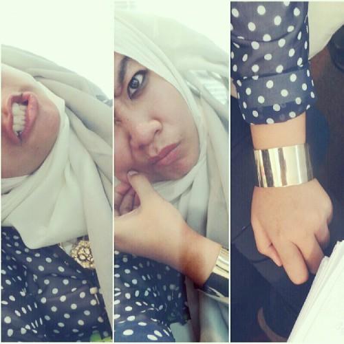 hijab sotd statementjewellery lazydoll ombre accessories aotd ootd bangle selfmadescarf hijabi hijabfashion medalion