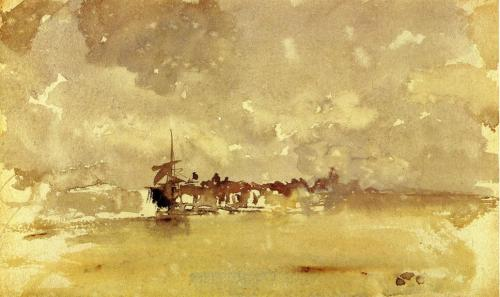 James McNeill Whistler- Gold and Grey: The Sunny Shower, Dordrecht (1884)