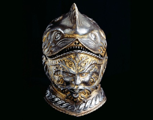 hard-sophoclean-light:   The Griffon Helm, around 1540. Italy. This bourguignotte is a typical, though marvelously crafted, example of how Mannerism is reflected in arms and armour. Elaborate decorations and shapes of fantastic animals became common for the parade armour. Griffon, a beast from ancient mythology, was both a tribute to the fascination with antiquity and an animalistic representation of it's owner's might and fury. As the visor was raised, the knight became half-man half-beast.  Musée de l'Armée  Easily the creepiest helmet I've seen in my armour appreciation life. It even beats this. But not the fanciest of all the Italian bourguignottes, let's be fair.