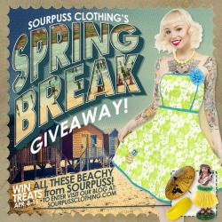 sourpussclothing:  Sourpuss is Having a Spring Prize Pack Contest! Spring is in the air, and we can't wait to hit the boardwalk in our favorite springtime dresses: We're guessing you are too! Well, why not go in vintage vacation style with this classically styled Spring prize pack? Enter below to win our Spring Break Prize Pack which includes: •A Sourpuss Vintage Inspired Pineapple Dress (Your Size Choice S-2x)•A Hula Girl Bobblehead Figure •A New Mermaid Parasol •Sourpuss Tiki Bracelet To Enter: Visit our Blog HERE: Then just log in to the contest widget below, and follow the instructions there. Contest runs April 8 - April 15 • Winner will be announced within a day of contest ending.
